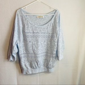 Abercrombie And Fitch blue lace blouse